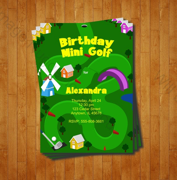 Mini Golf Geburtstag Einladung Druckbare Design Anpassbar, Einladung