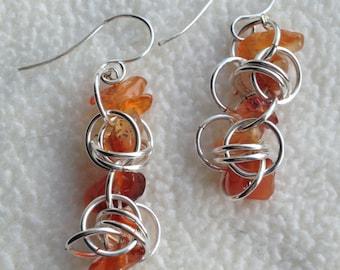 Orange Carnelian in Sterling Silver Chainmaille Earrings