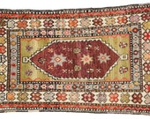 "Antique Turkish Oushak 2' 10"" x 4' 8"""