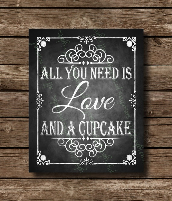 printable chalkboard wedding cupcake sign by