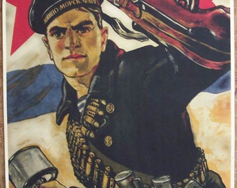 """WW2 Russian seaman appeal """"Ahead! To the West!"""" poster"""