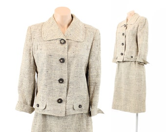 Vintage 50s Tweed Suit Knobby Tan Ivory Woven Mad Men Suit Fitted Skirt Blazer Jacket Womens Fall Fashion 1950s Medium M