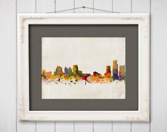 Detroit City Skyline (1st version), Digital Watercolor art print. Modern Home Decor