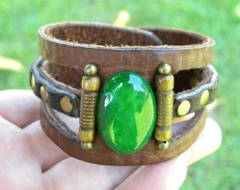 Customize Your wrist Bracelet Genuine American Bison Leather, Green agate natural stone,Antic Bones Handmade Indian Style