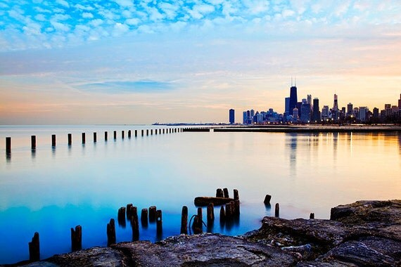 Chicago skyline at sunset - Chicago city art print - Chicago blue sky - Chicago skyline color wall decor -12x8 photo, 15x10, 18x12, 24x16