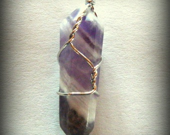 Wire Wrapped Amethyst Crystal, February Birthstone, Healing Gemstone, Metaphysical Crystals, Channeling Stone
