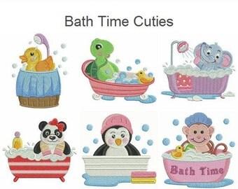 Bath Time Cuties Cartoon Animal Machine Embroidery Designs Instant Download 4x4 hoop 10 designs APE1827