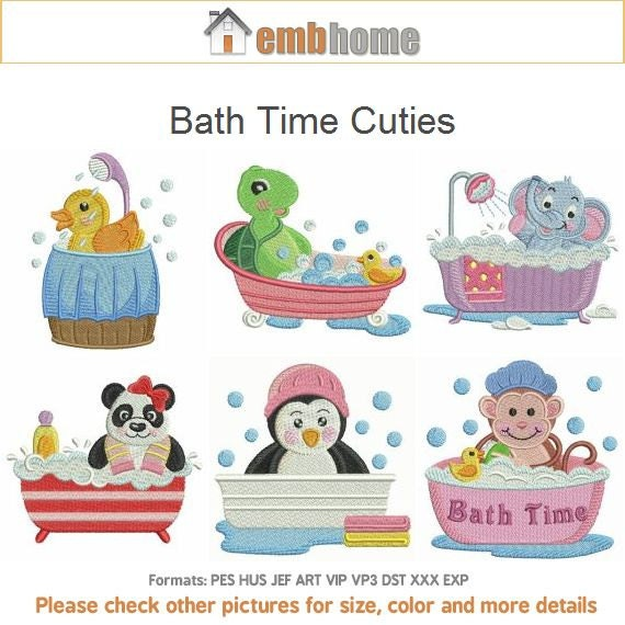 Bath time cuties cartoon animal machine embroidery designs for Bathroom embroidery designs