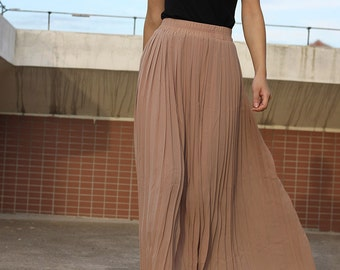 Top quality Nude Pleated skirt Maxi Skirt Long Skirt custom made skirt 16 colors available