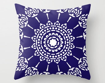 Geometric Mandala Pillow with insert - Navy - Neutral Modern Home Decor -