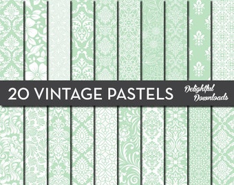 "Green Floral Digital Paper ""20 VINTAGE PASTEL GREENS"" with 20 green floral damask digital papers for scrapbooking, cards, prints."