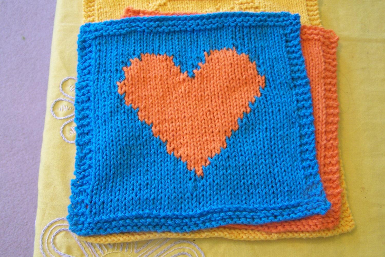 Knit Heart Washcloth PatternIntarsia Heart Washcloth Pattern