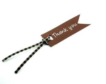 Brown Thank You Tag, Simple And Original Gift Tag Available Set of 5 or 10 Tags