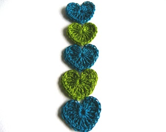 Crochet hearts applique, 30 mini hearts, embellishments, small wedding favor, scrapbooking,wedding decorations, spring gift idea