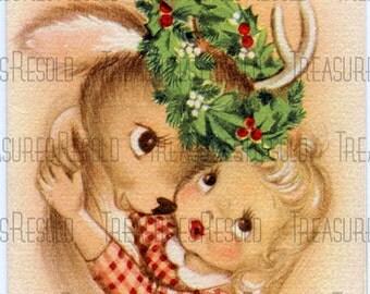Girl Hugging Reindeer Christmas Card #51 Digital Download