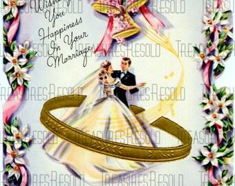 Vintage Bride & Groom Wedding Card #260 Digital Download