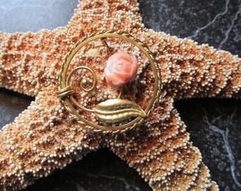 Sorrento 12K Gold Filled Pin Brooch Rose Floral