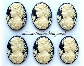 6 Ivory Color Young Girl Goddess with Dove and Lily on Black Background 25mm x 18mm Resin Cameos for Making Costume Jewelry