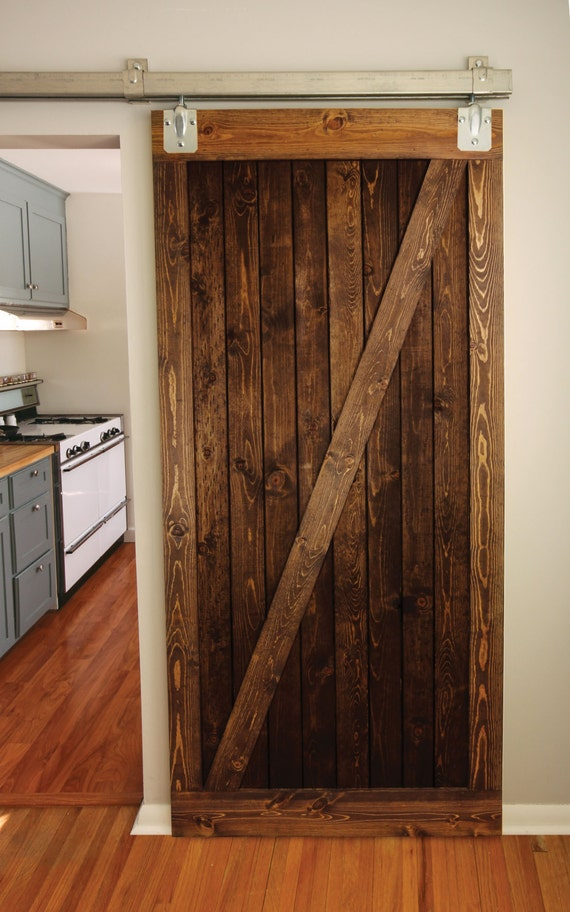 Rustic wood barn door z brace style by graincustomwoodworks for Wooden back door and frame