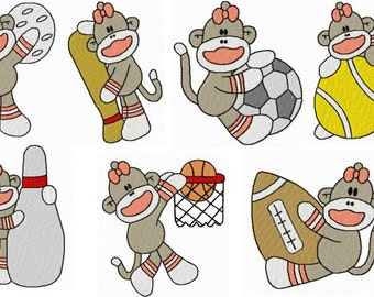 28 Girl Sports Sock Monkey Machine Embroidery Design Files 4x4 with Finger Puppets