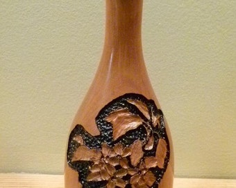 Cherry Wood Vase (Engraved Apple Blossom)