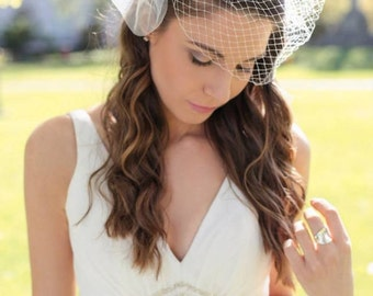 Ivory Stunning Tulle Infused Floral Birdcage Veil