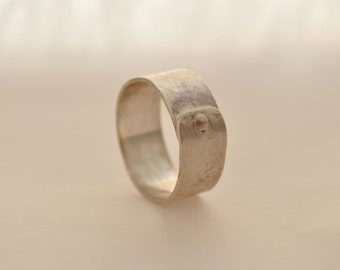 1) 8mm Textured Sterling Silver Rivet Ring