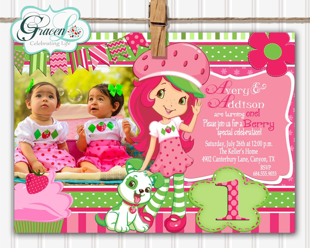 Strawberry Shortcake Invitation Strawberry Shortcake Birthday