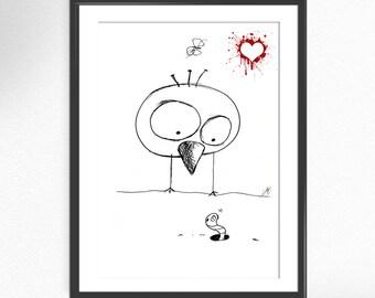 Bird in Love print from of my original illustration art print poster illustration big eyes quote funny inspiring art wall decor design (03)