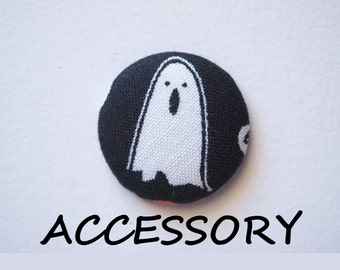 Halloween ghost fabric covered buttons (adjustable ring, earrings, shoe clips, and brooch)