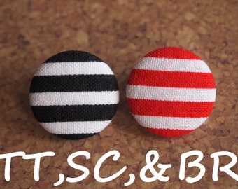 Red or black striped  fabric covered buttons (Tie Tacks, Shoe Clips, Brooch)