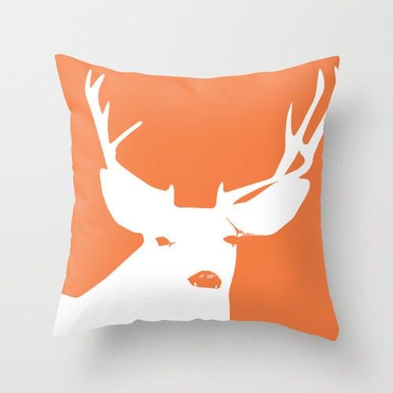 Orange Deer Pillow Cover rustic decor animal pillow