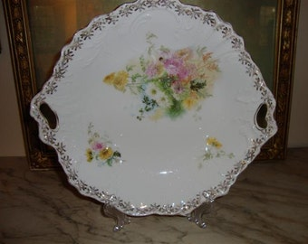 C.T. Carl Tielsch Germany Handle Floral Serving Bowl, Vintage