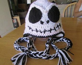 Made to Order Crocheted Jack Skellington Inspired Earflap Hat