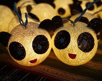 35 Cotton Ball String Lights Panda Lights for Kid bedroom birthday  light display garland decorations