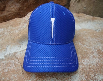 Men's Dri Mesh Golf Hat Royal Blue with Embroidered Tee Design | Great Golf Gift Item