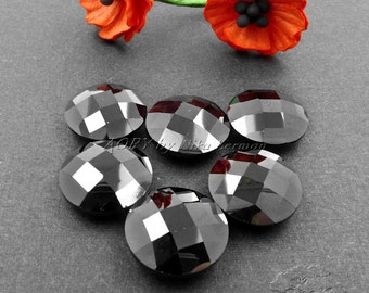 1pcs 14mm Cubic Zirconia, Black Color, Round, Double Checkerboard Brilliant Cut, Not Drilled, Sparkling Beautiful Cubic Zirconia