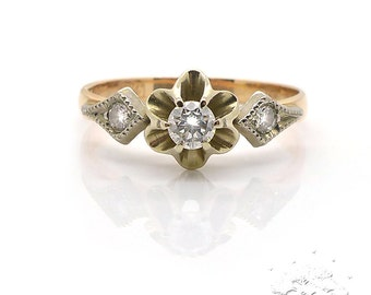14K Rose and Yellow Gold Ring with Diamonds, Weight 2.34g, US Size 7, Excellent Condition