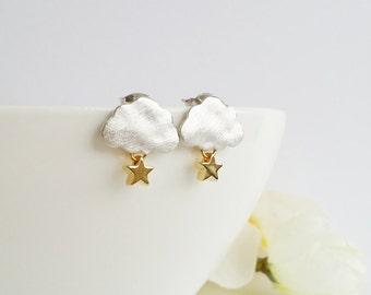 Silver cloud earrings, gold star earrings, rain cloud earrings, silver and gold , silver stud earrings, gold stud earrings
