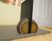 New Age Kindle Holder Orange Brazillian Agate Book End Set # 147
