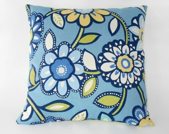 Free shipping/BLUE FLORAL PILLOW Cover 20X20 inches- Richlom-Cotton duck-Floral-Throw pillow-Decorative pillow-Accent-Handmade 100% cotton..