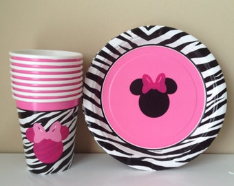 16 Minnie Mouse zebra plates or cups party decoration