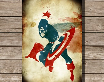 Captain America splatter print movie poster art print Captain America comic book art fan art