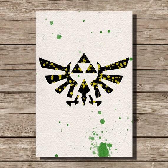 Zelda Wall Decoration : Legend of zelda triforce watercolor illustrations art