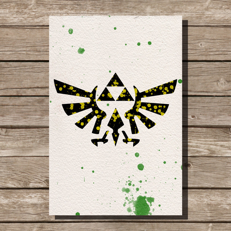 Legend Of Zelda Triforce Watercolor Illustrations Art