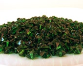 Plastic Bicone Beads Forest Emerald Green Destash Bead Lot .7 oz