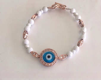 Baby evil eye bracelet in two tone