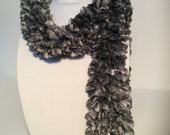 Black and Silver Ribbon Scarf