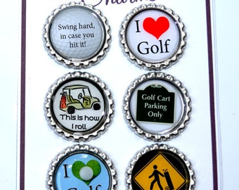 Funny Golfer Wine Charms- traditional or magnetic.