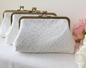 Personalize Lace clutch / Bridal Clutch / Bridesmaids clutch / Express shipping / Dinner clutch / Bag / Purse / Pouch / Custom / set of